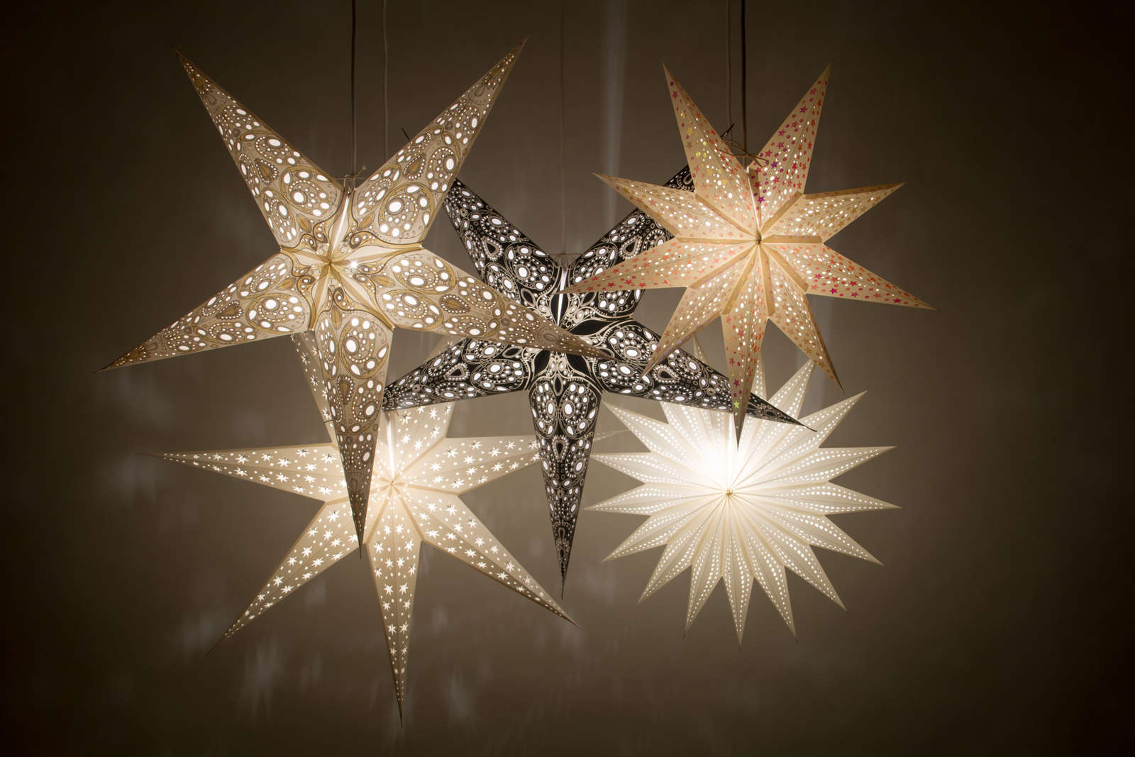 Paper Christmas Decorations.Details About Deluxe Paper Star Light Shades Hanging Ceiling Lampshades Christmas Decorations