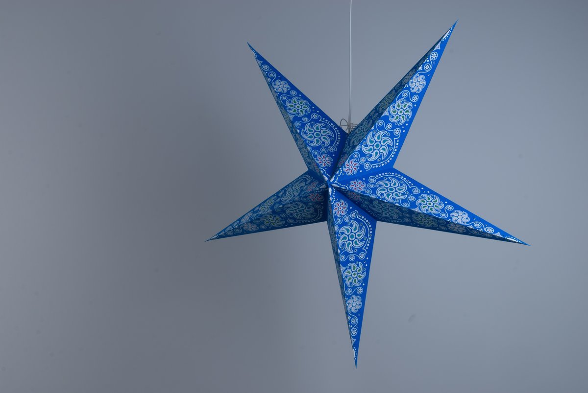 Deluxe paper star light shades hanging ceiling lampshades for Diy star lantern