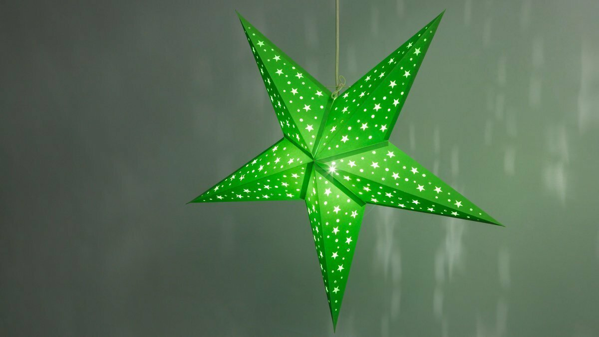 Starry Green Paper Star Light Shades & Lanterns Lit Up
