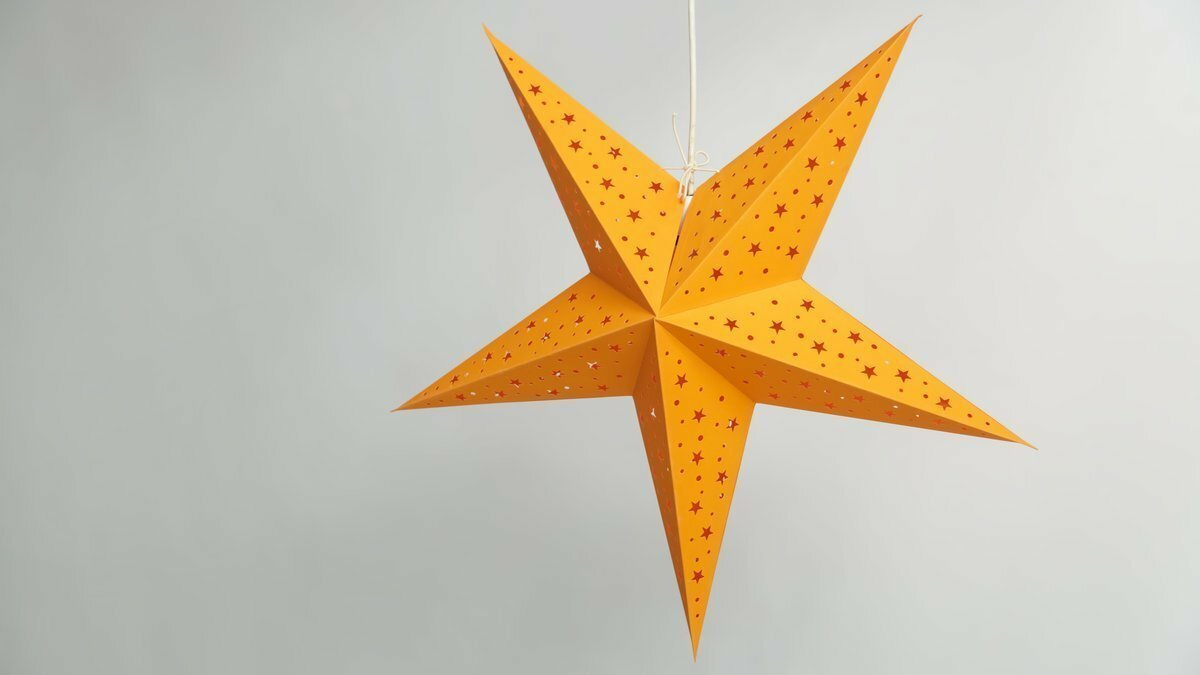 Starry Orange Paper Star Party Decorations