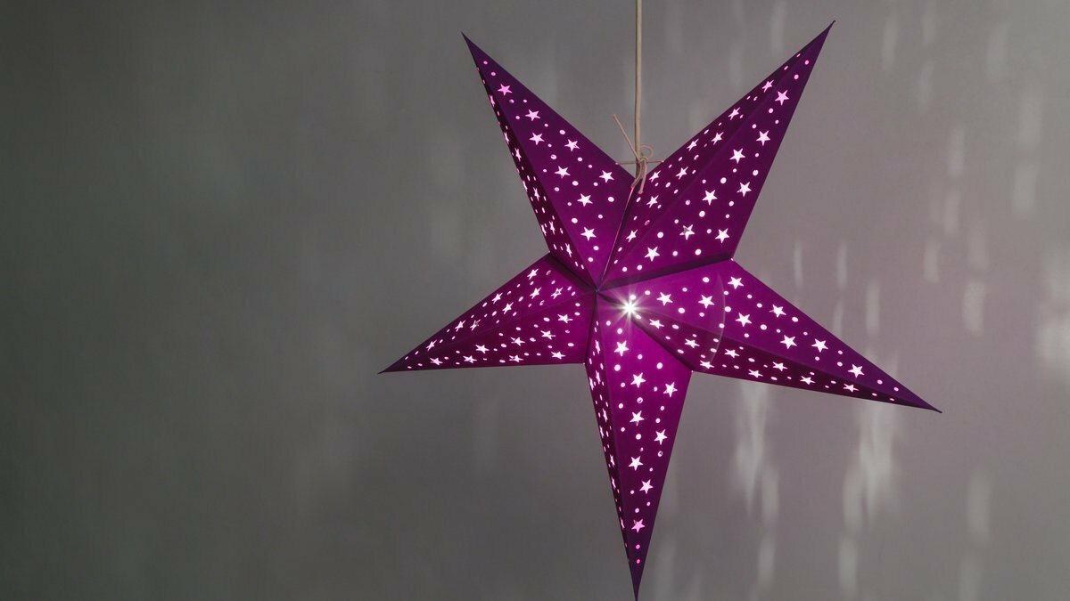 Starry Violet Paper Star Light Shades & Lanterns Lit Up