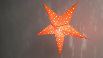 Starry Orange Paper Star Light Shades & Lanterns Lit Up