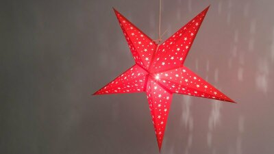 Starry Red Paper Star Light Shades & Lanterns Lit Up