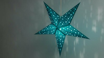 Starry Teal Paper Star Light Shades & Lanterns Lit Up
