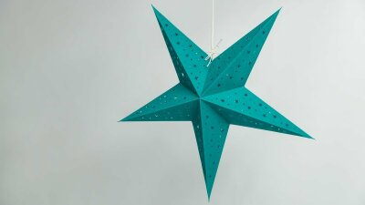 Starry Teal Paper Star Party Decorations
