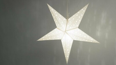 Starry White Paper Star Light Shades & Lanterns Lit Up