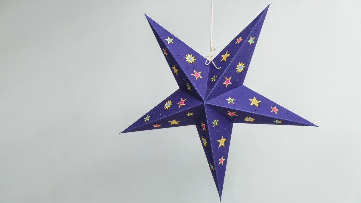Sky Deep Blue Multicoloured Stars Paper Star Party Decorations