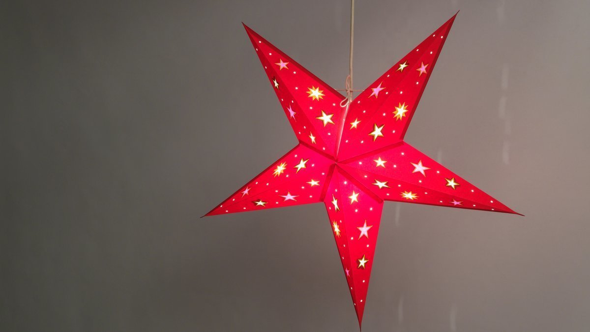 Sky Red with Multicoloured Stars Paper Star Light Shades & Lanterns Lit Up