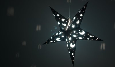 Sky Black Night Paper Star Light Shades & Lanterns Lit Up