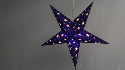 Sky Deep Blue Multicoloured Stars Paper Star Light Shades & Lanterns Lit Up