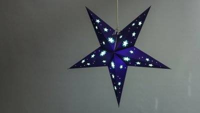 Sky Deep Blue with Yellow Stars Paper Star Light Shades & Lanterns Lit Up
