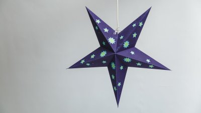 Sky Deep Blue with Yellow Stars Paper Star Party Decorations