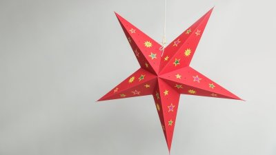 Sky Red with Multicoloured Stars Paper Star Party Decorations