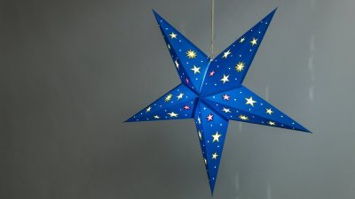 Sky Turquoise Paper Star Light Shades & Lanterns Lit Up