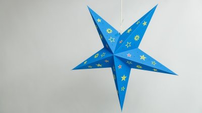 Sky Turquoise Paper Star Party Decorations