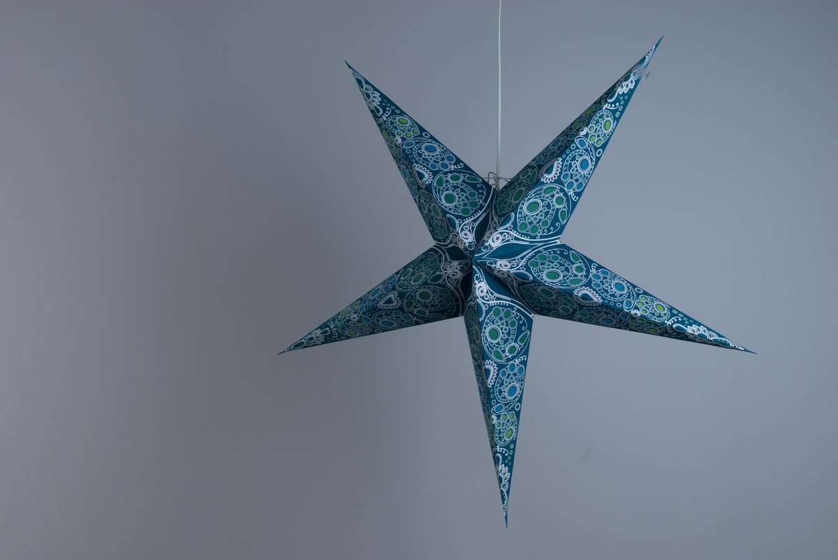 Deluxe Lanterns Damask Aquamarine Paper Star Party Decorations