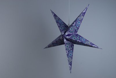 Deluxe Lanterns Damask Violet Paper Star Party Decorations
