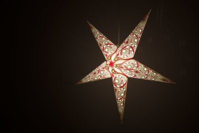 Deluxe Lanterns Japanese Lily Paper Star Light Shades & Lanterns Lit Up