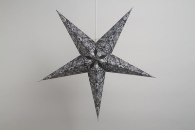 Deluxe Lanterns Lace Black And Antique White Paper Star Party Decorations