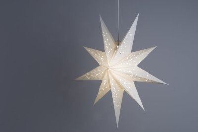 Deluxe Lanterns Prosecco White Paper Star Light Shades & Lanterns Lit Up