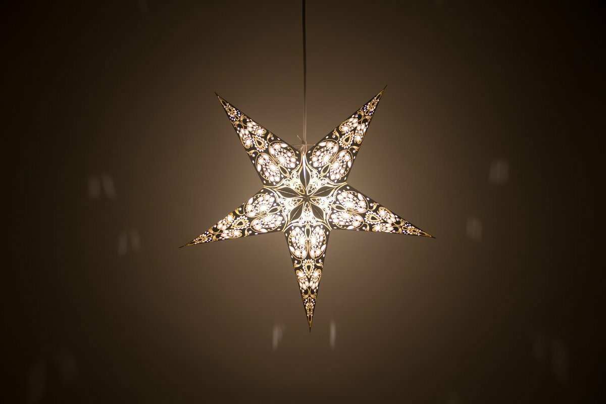 Lace Black and Antique White Paper Star Light Shades & Lanterns Lit Up