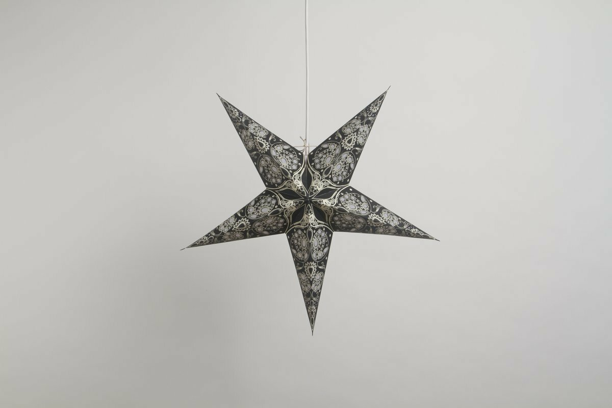 Lace Black and Antique White Paper Star Party Decorations