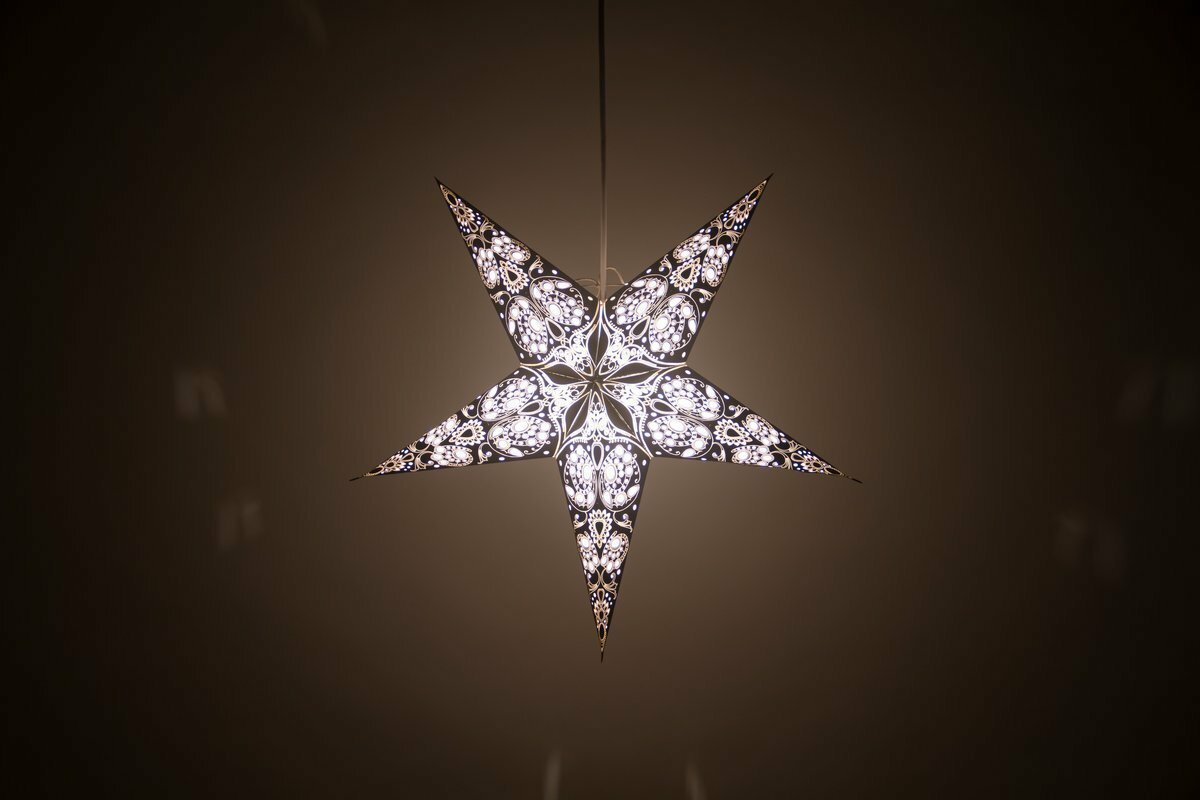 Lace Black and White Paper Star Light Shades & Lanterns Lit Up