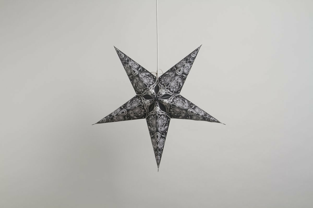 Lace Black and White Paper Star Party Decorations