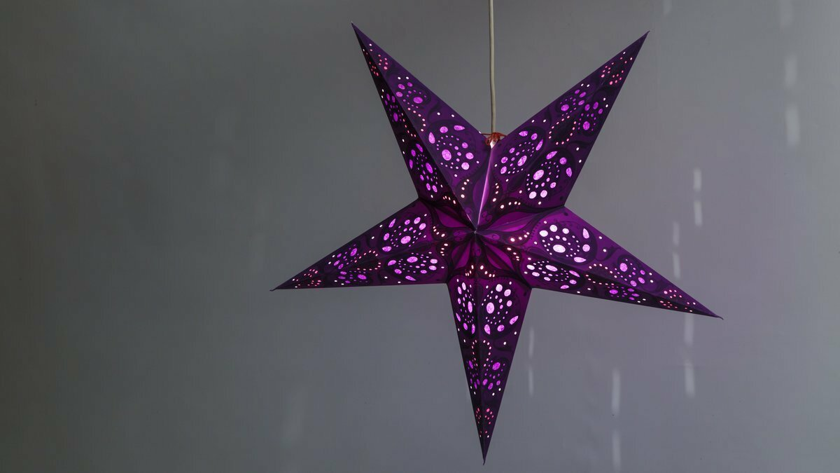 Lace Violet Paper Star Light Shades & Lanterns Lit Up