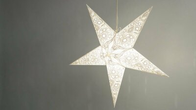 Lace Ivory Paper Star Light Shades & Lanterns Lit Up