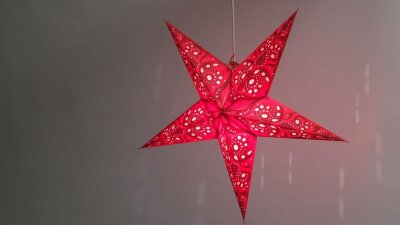 Lace Red Paper Star Light Shades & Lanterns Lit Up