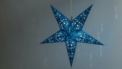 Lace Teal Paper Star Light Shades & Lanterns Lit Up