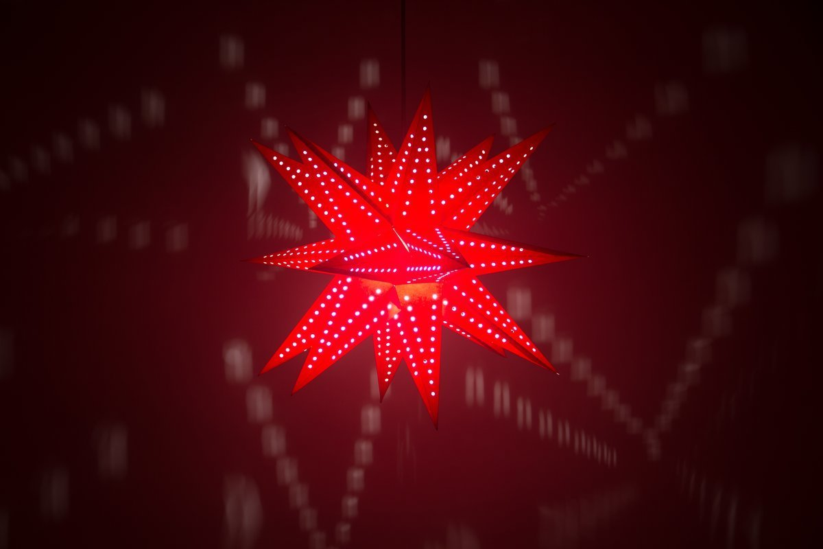 Supernova Red Paper Star Light Shades & Lanterns Lit Up