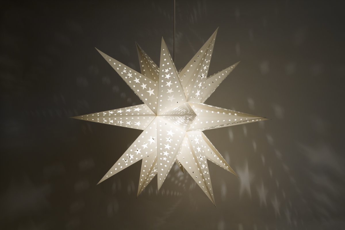 supernova 18 tipped white 3d star lamp shades decorations. Black Bedroom Furniture Sets. Home Design Ideas
