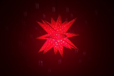 Supernova Fiesta Red Paper Star Light Shades & Lanterns Lit Up