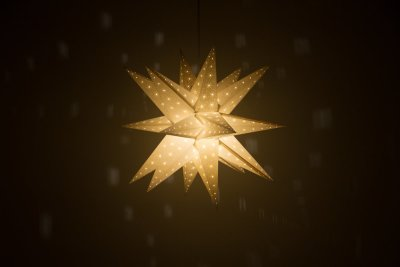 Supernova Pebble Grey Paper Star Light Shades & Lanterns Lit Up