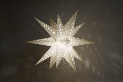 Supernova White Paper Star Light Shades & Lanterns Lit Up