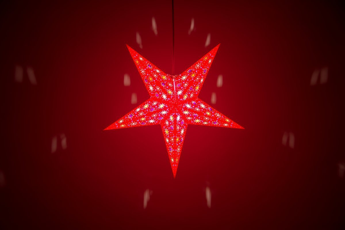 Fiesta Red Paper Star Light Shades & Lanterns Lit Up