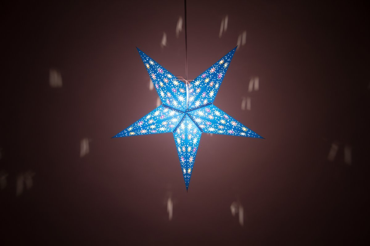 fiesta sea blue hanging paper star lamp shades decorations. Black Bedroom Furniture Sets. Home Design Ideas
