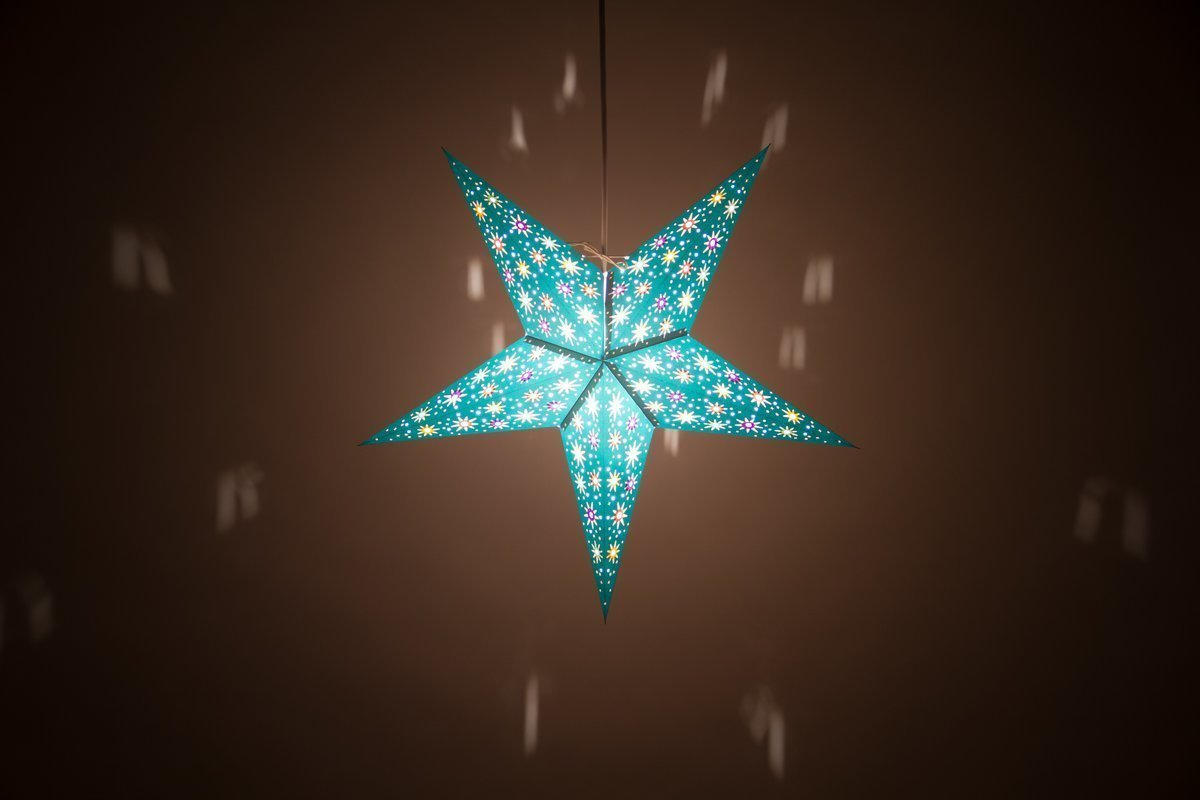 Fiesta Turquoise Paper Star Light Shades & Lanterns Lit Up
