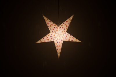 Fiesta White Paper Star Light Shades & Lanterns Lit Up