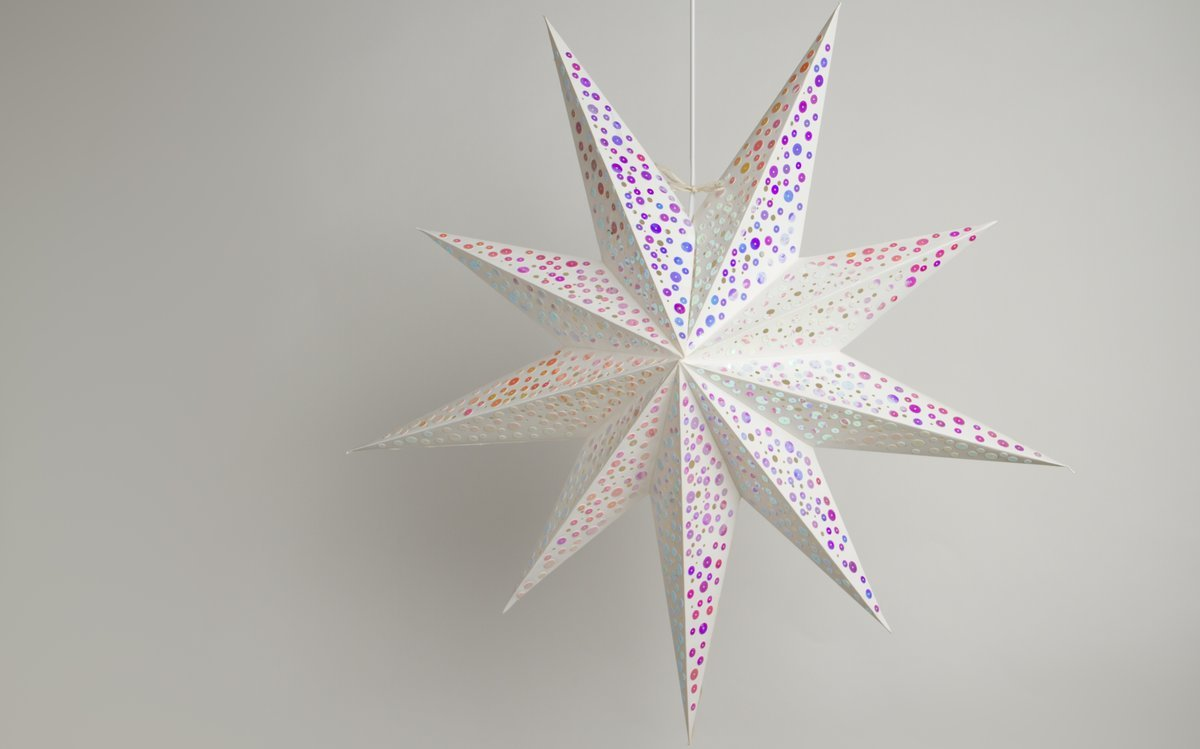 9 pointed white paper star light shades with pink sequins sequin pink paper star light shades lanterns lit up sequin pink paper star party decorations aloadofball Gallery