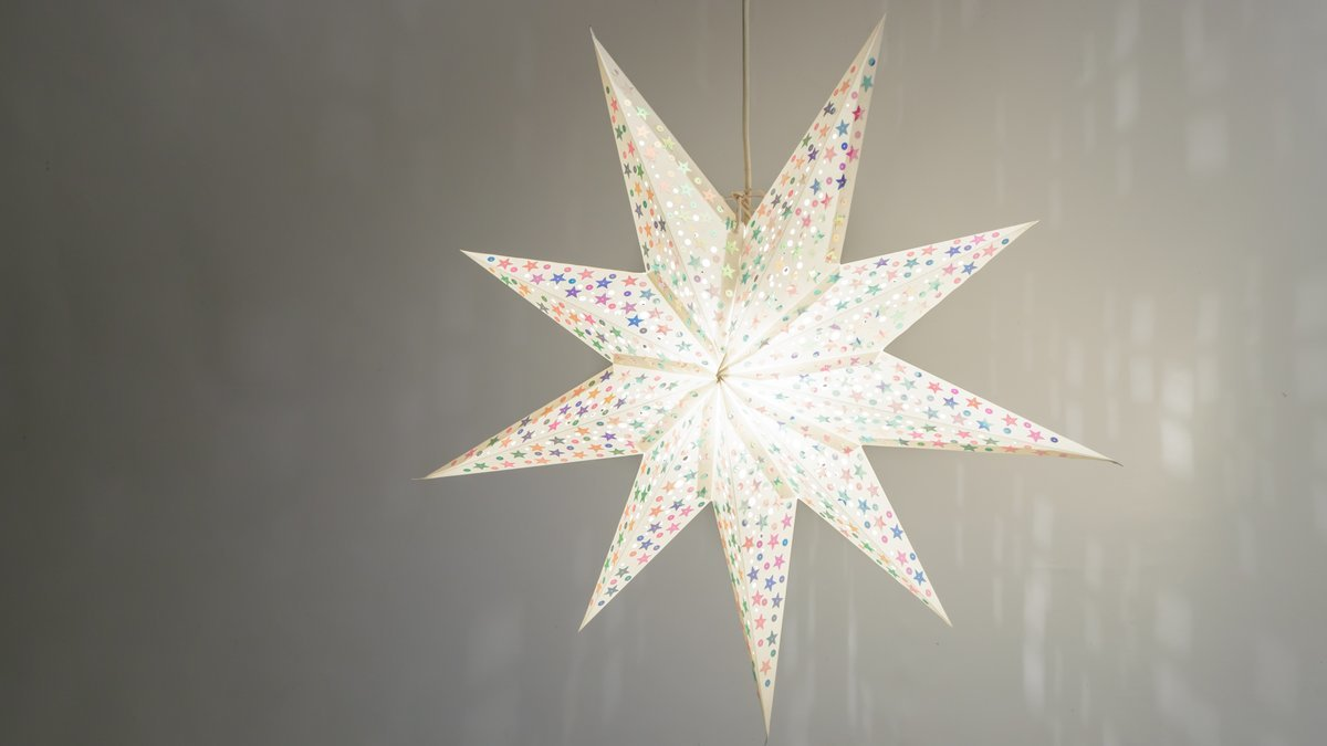 Sequin Starry White Paper Star Light Shades & Lanterns Lit Up