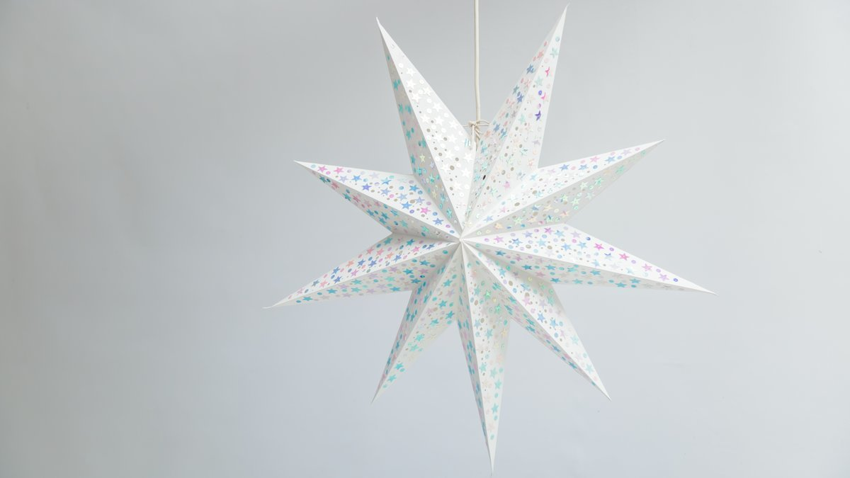 Sequin starry 9 point paper star light shades decorations shades lanterns lit up sequin starry white paper star party decorations aloadofball Gallery
