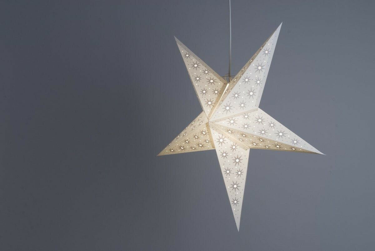 Aster Pearl White and Oyster Grey Paper Star Light Shades & Lanterns Lit Up