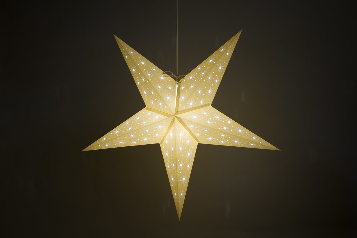Aster Sandstone Paper Star Light Shades & Lanterns Lit Up