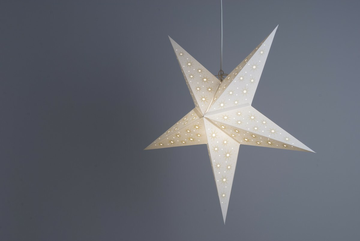 Aster White and Parchment Paper Star Light Shades & Lanterns Lit Up