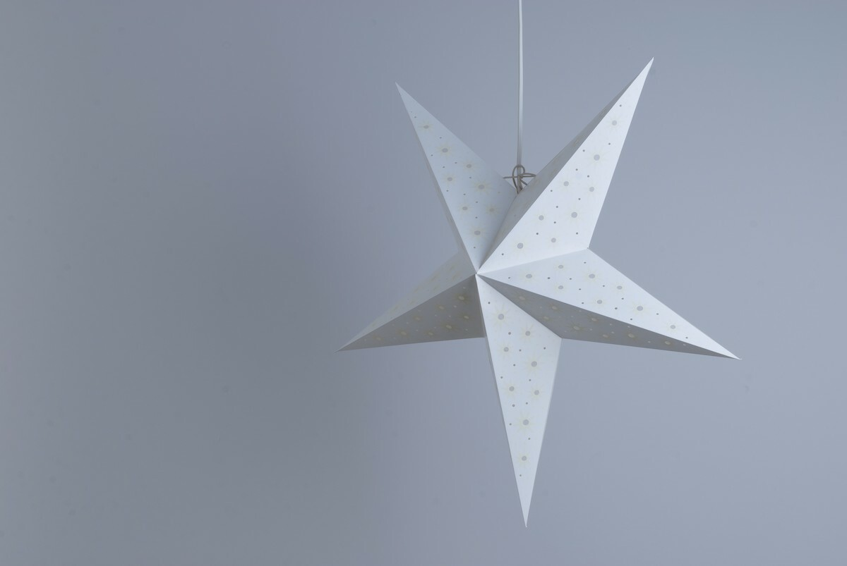 Aster White and Parchment Paper Star Party Decorations