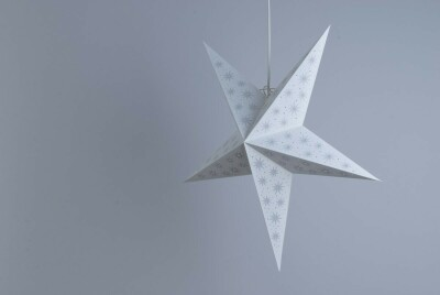 Aster Pearl White and Oyster Grey Paper Star Party Decorations