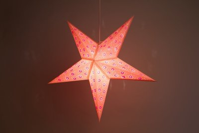 Aster Pink Paper Star Light Shades & Lanterns Lit Up